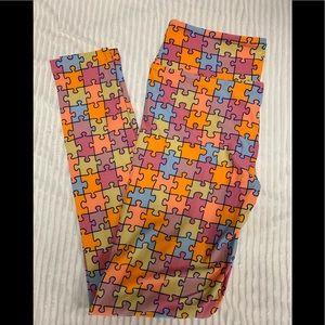 Lularoe Autism awareness leggings, One size (8-12)
